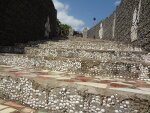 Steps made of waste pieces of tiles and oyster shells